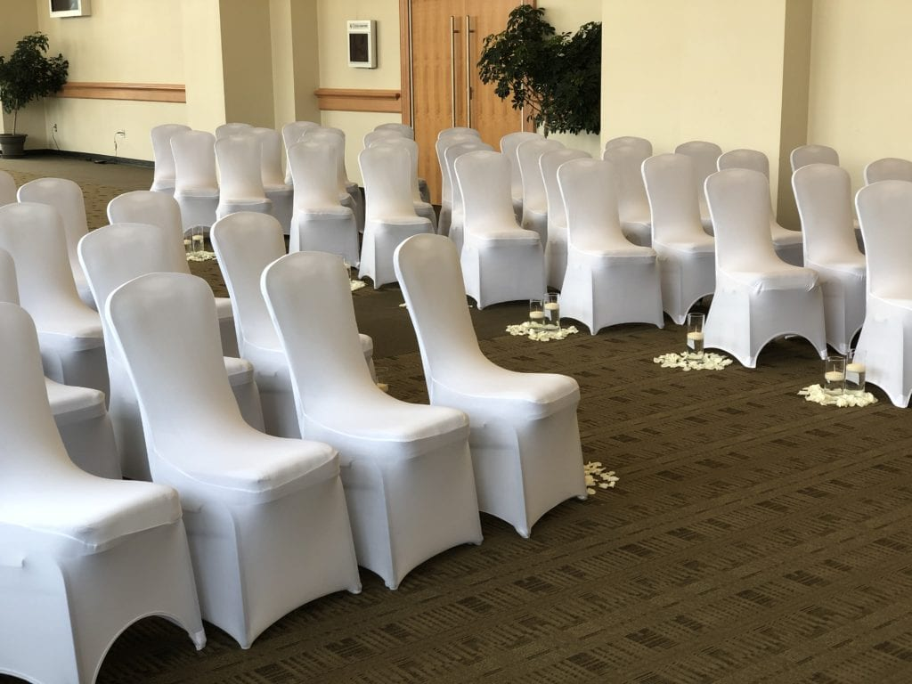 Empty chairs set-up before Sharpe Wedding