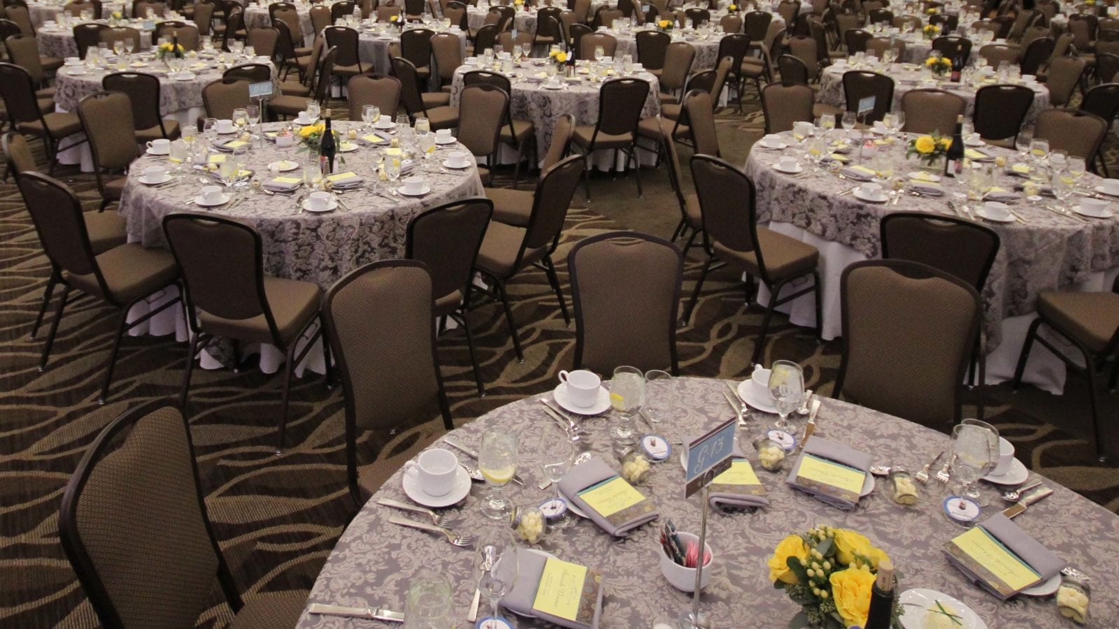 photo of ballroom tables set for cross center gala night