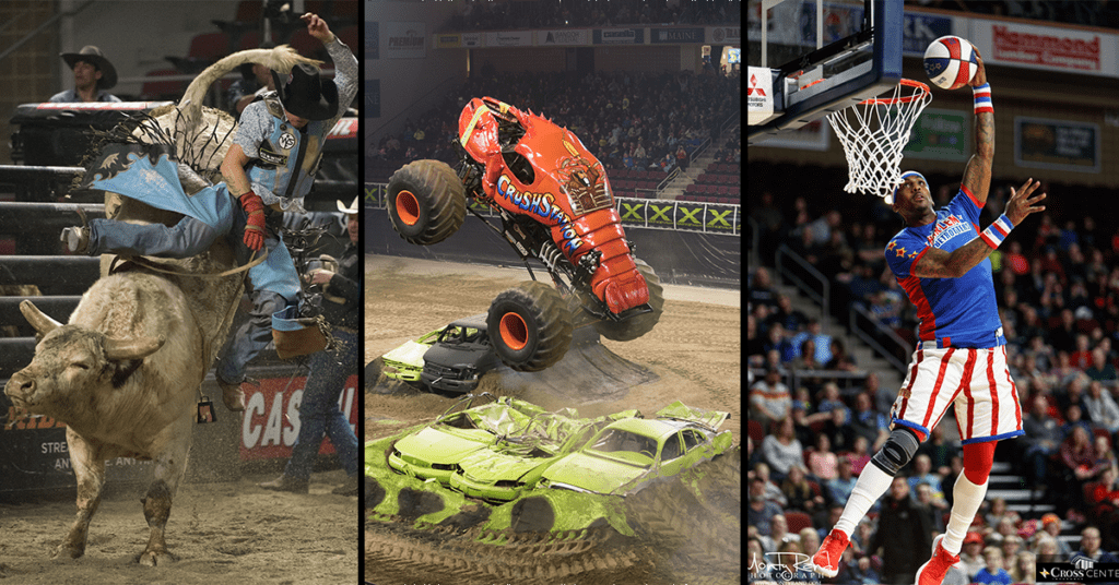 photos of rodeo, monster trucks and harlem globetrotters for group tickets page