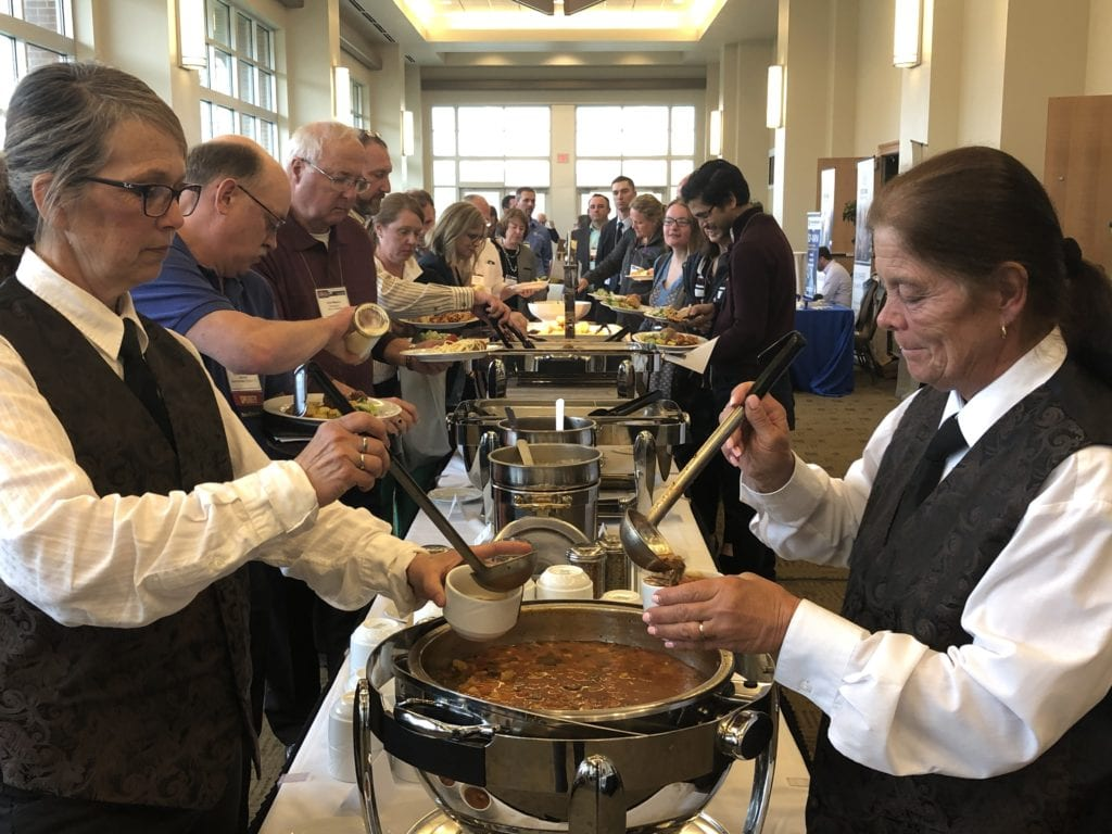 employees enjoying a buffet lunch