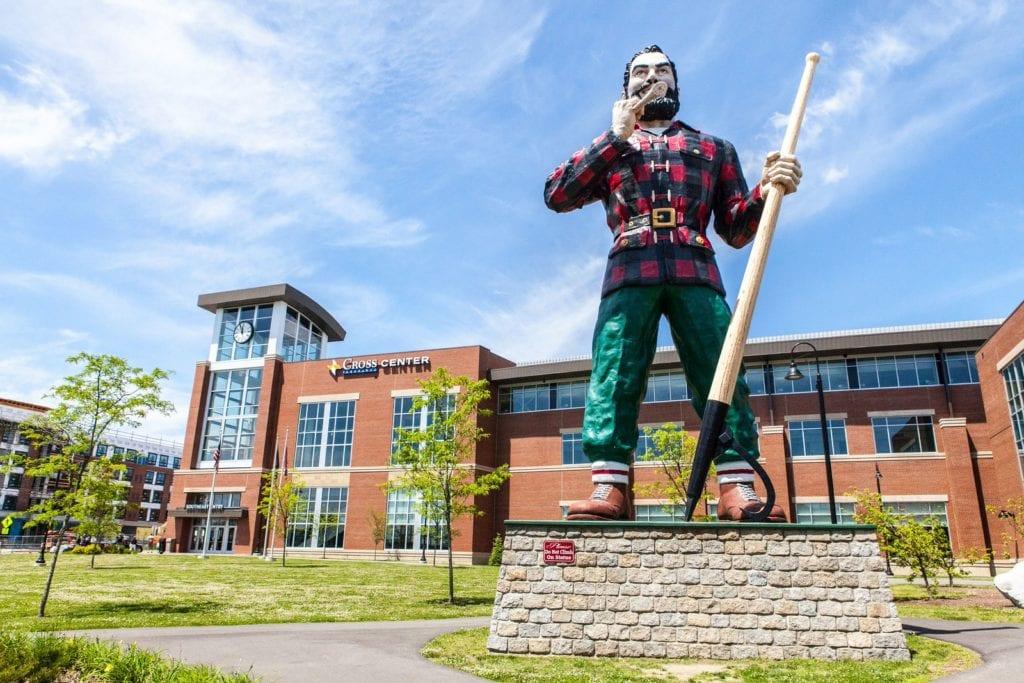 external photo of cross insurance center and paul bunyan statue