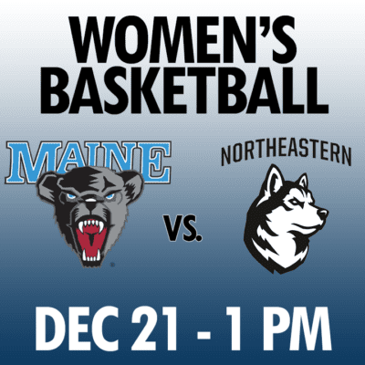 women's basketball maine vs northeastern dec 21 1pm graphic