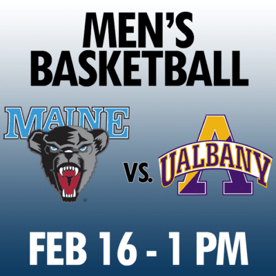 men's basketball maine vs albany feb 16 1pm graphic