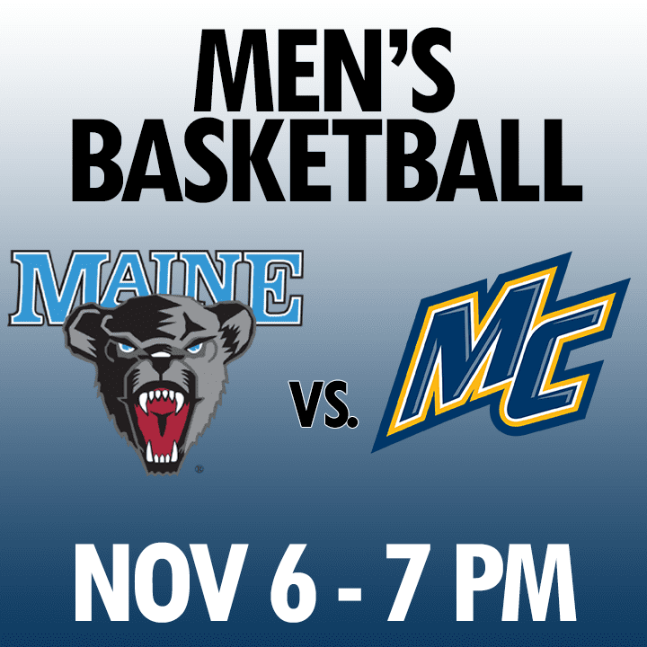 men's basketball maine vs merrimack nov 6 7pm graphic