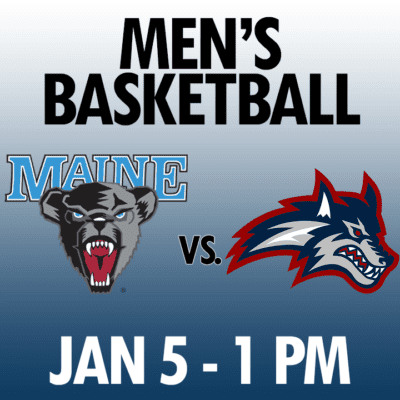 men's basketball maine vs stony brook jan 5 1pm graphic