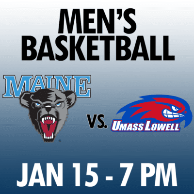 men's basketball maine vs umass lowell jan 15 7pm graphic