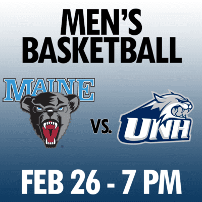 men's basketball maine vs unh feb 26 7pm graphic