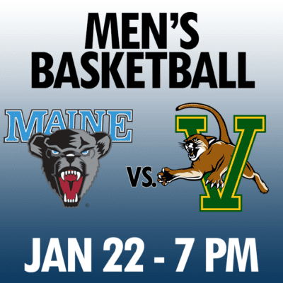 men's basketball maine vs vermont jan 22 7pm graphic