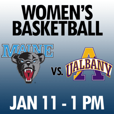women's basketball maine vs albany jan 11 1pm graphic