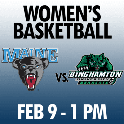 women's basketball maine vs binghamton feb 9 1pm graphic