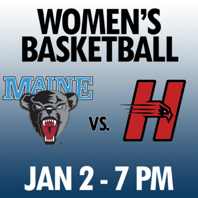 women's basketball maine vs hartford jan 2 7pm graphic