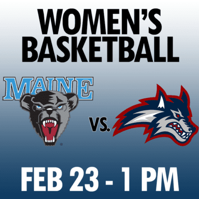 women's basketball maine vs stony brook feb 23 1pm graphic