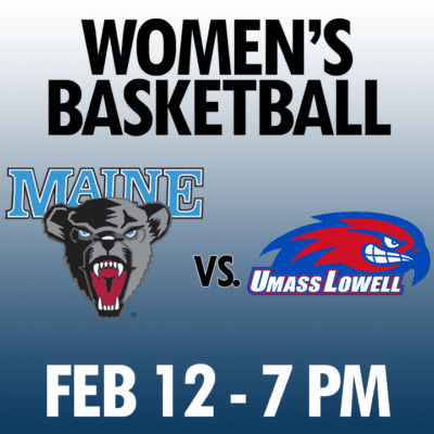 women's basketball maine vs umass lowell feb 12 7pm graphic