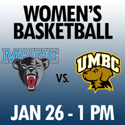 women's basketball maine vs umbc jan 26 1pm graphic