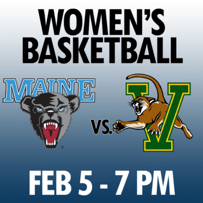 women's basketball maine vs vermont feb 5 7pm graphic