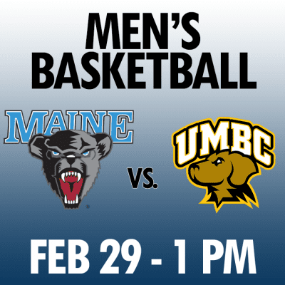 men's basketball maine vs umbc feb 29 1pm graphic